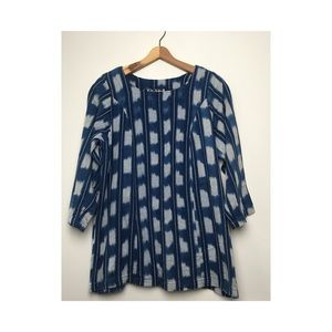 Vintage boho tunic top 3/4 sleeve handwoven M